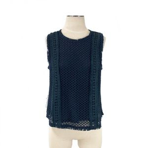 J by JOA- Dark Teal Crochet Fringe Sleeveless Top
